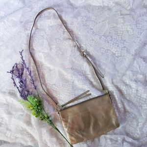 Fossil Metallic Gold Crossbody Satchel Clutch Bag